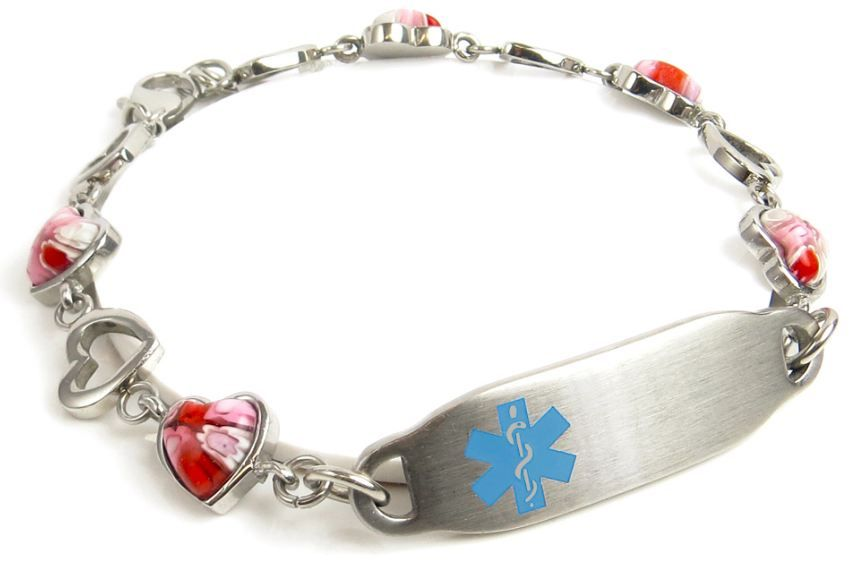 Black /& Silver Hearts Chain Custom Engraved FREE Medical ID Bracelet Red i2C-B11
