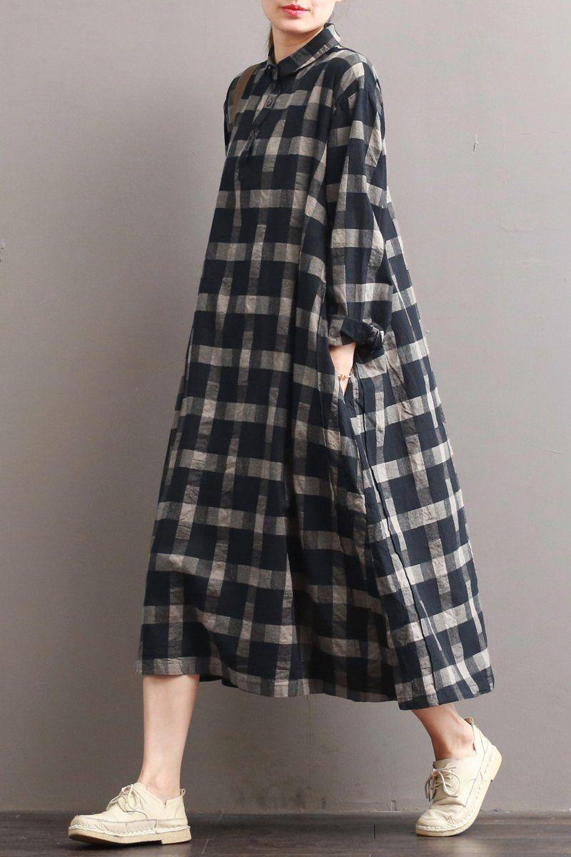 Leinen-Plaid-beiläufiges loses Hemd-Kleid, Winter-langes Hemd für Frauen Q7811 | Fantasie…   – HIJAB