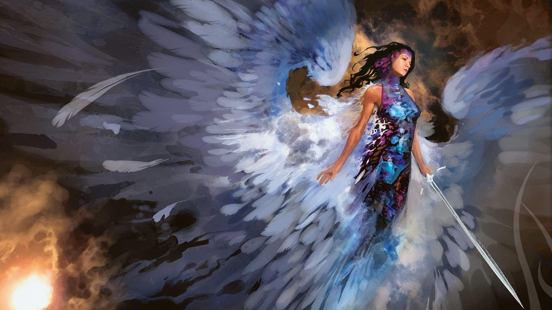 Female Angel Holding Sword Digital Wallpaper Artwork Fantasy Art Digital Artwork Fantasy Fantasy Art Artwork