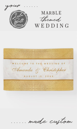 Marble Gold Calligraphic Script Welcome Wedding Banner