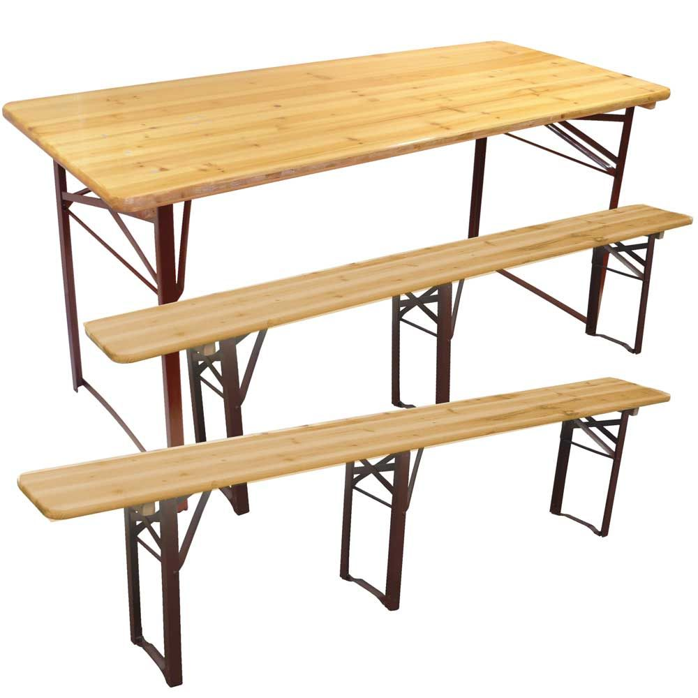 Ensemble Table Et Bancs Pliants Bois 810 Personnes Jardin En