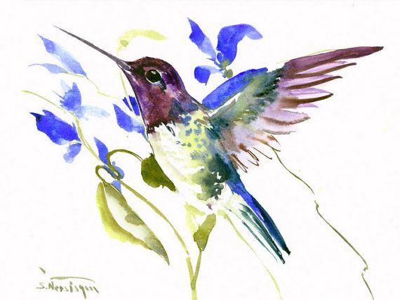 Hummingbird and Blue Flowers original painting by ORIGINALONLY