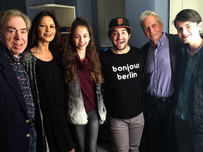 Star Tracks: Monday, November 30, 2015 | SCHOOL DAYS | Meanwhile, backstage at Broadway's School of Rock on Sunday, composer Andrew Lloyd Webber and star Alex Brightman hang with Catherine Zeta-Jones, Michael Douglas and their children Carys, 12, and Dylan, 15.