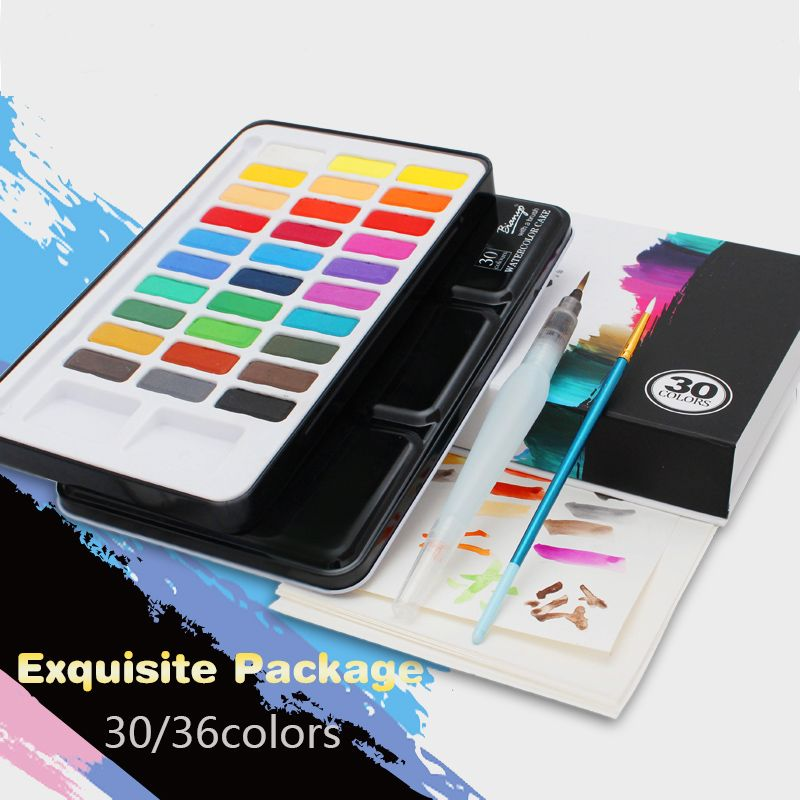 Us 25 74 26 Bianyo 30 Colors Artist Watercolor Solid Paints Set
