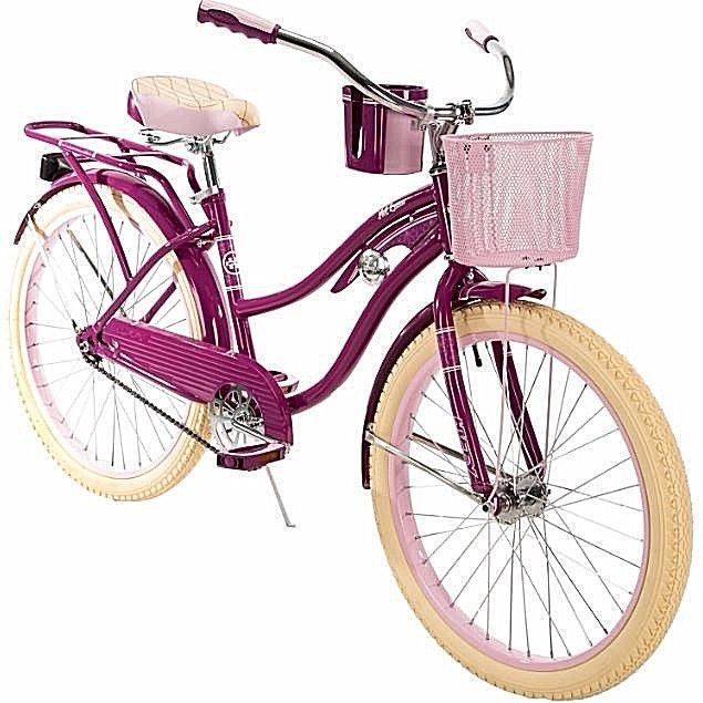 fa4d57d1945 Bikes For Girls 24 Inch Bicycles Cruiser Basket Cup Holder Purple Cycling  Sports