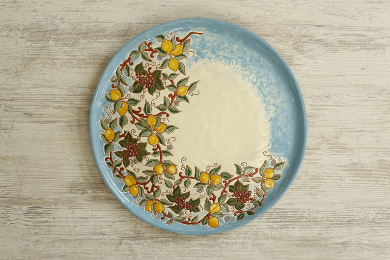Pottery Serving Board Cheese Boards 38CM Ceramic Cheeseboard Hand Painted Tray Decorative Tray Bread Board Kitchen Cheeseboard Gift For Her. #ceramic #ceramics #ceramicdesign #pottery #potterylove #potterytable #diningtable #tabledecor #diningtabledecor #decor #decoration #homedecor #servingset #gift #kitchendecor #dining