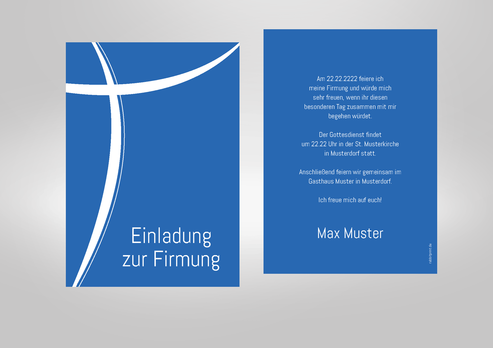 Einladung Zur Firmung Blau Mit Kreuz Schlicht Und Modern In Vielen Farben Erhaltlich Einladungen Firmung Firmung Einladungen