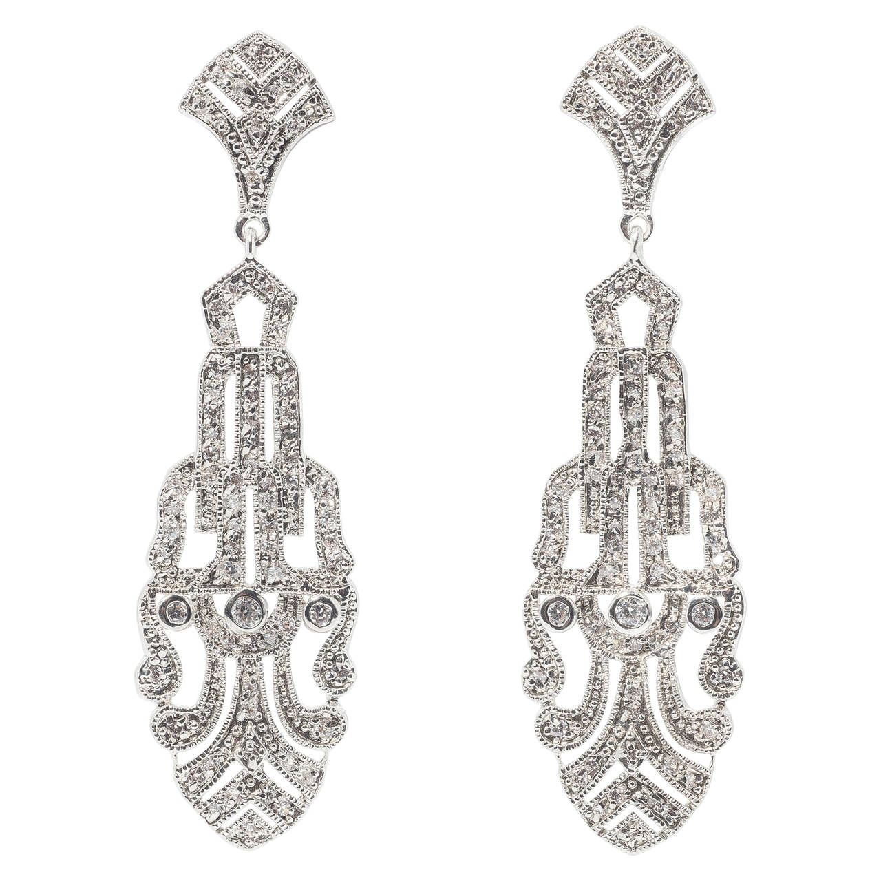Art deco style faux palmette diamond chandelier earrings diamond art deco style faux palmette diamond chandelier earrings from a unique collection of vintage chandelier arubaitofo Choice Image