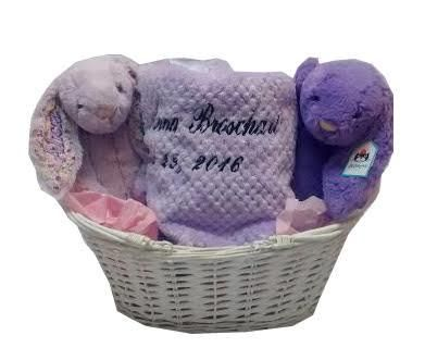 Namely newborns baby gift basket with names in lavender 10500 buy a lovely lavender baby girl gift basket loaded with goodies for the new baby negle Image collections