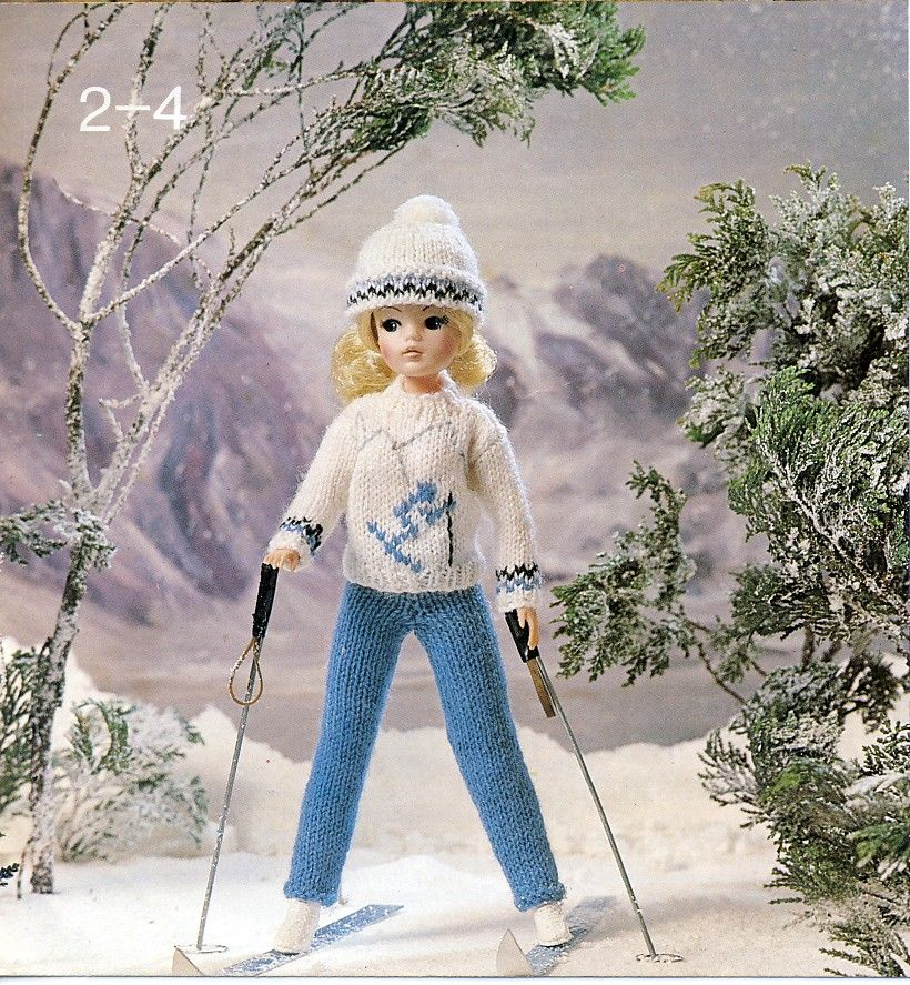 Ski-ing outfit for Sindy dolls. From Sirdar Playmates F21 booklet ...