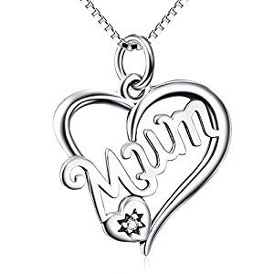 925 sterling silver heart shape mum pendant necklace mothers day 925 sterling silver heart shape mum pendant necklace aloadofball Image collections