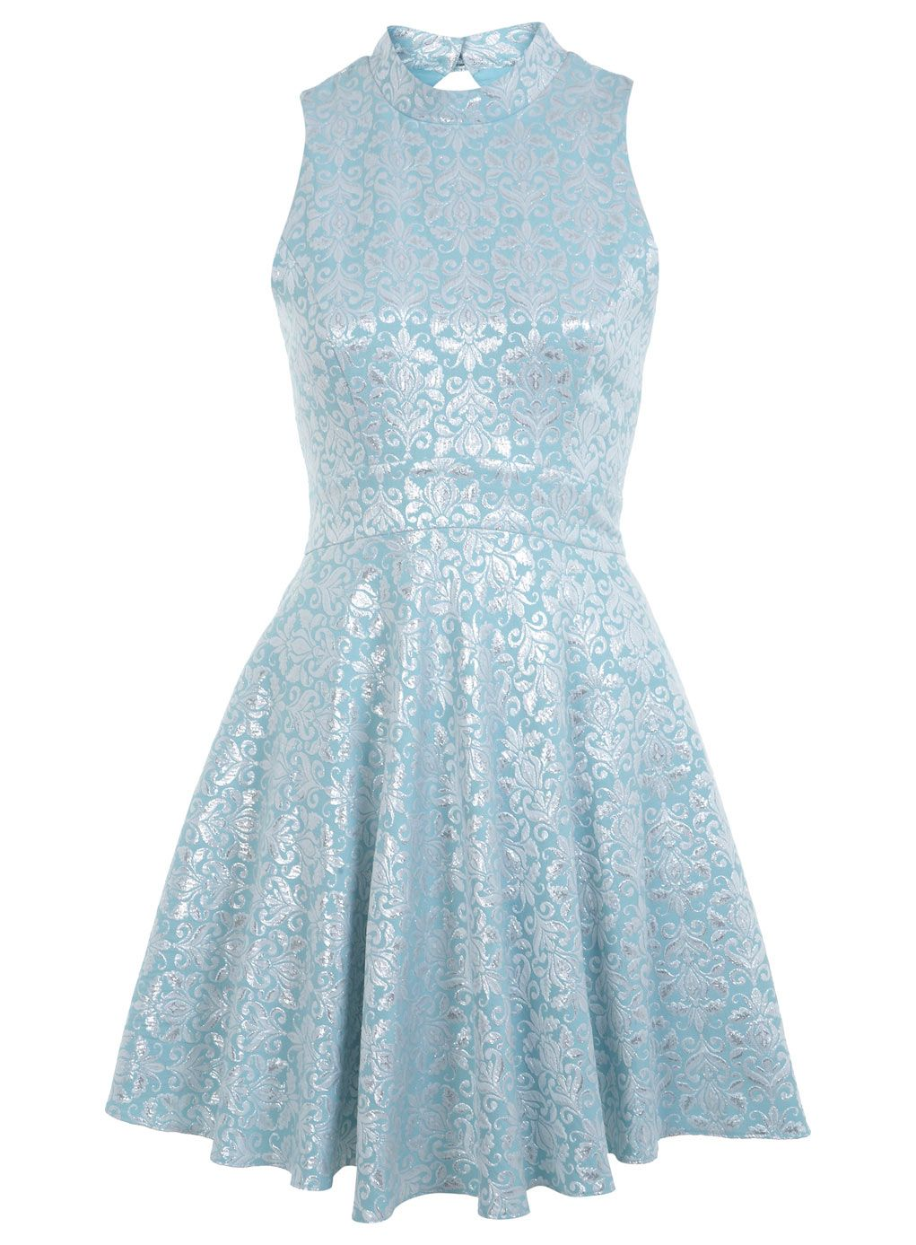 Miss Selfridge High Neck Silver Jacquard Dress | Fashion | Pinterest ...