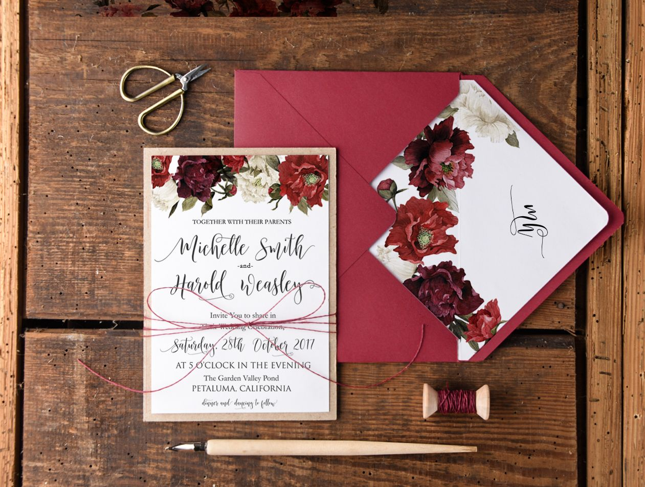 WEDDING INVITATIONS watercolor 04/fall/z | Wedding invitations ...