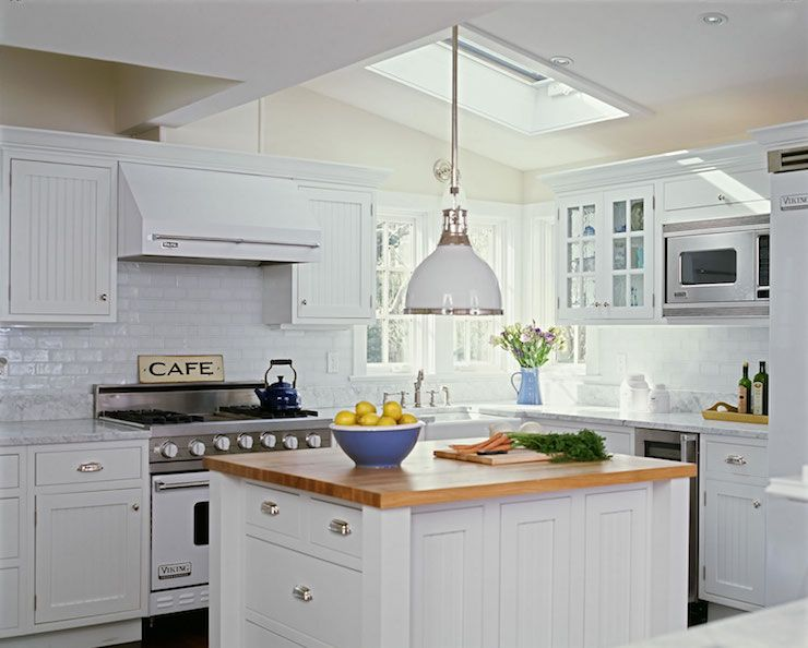 Cottage Kitchen Design Extraordinary White Cottage Kitchen Wbeaboard Cabinets & Butcher Block Island Inspiration Design