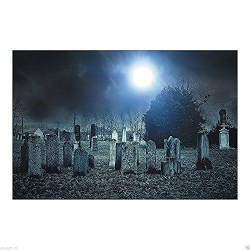 HALLOWEEN Party Decoration Prop HAUNTED CEMETARY Backdrop Photo - halloween backdrop
