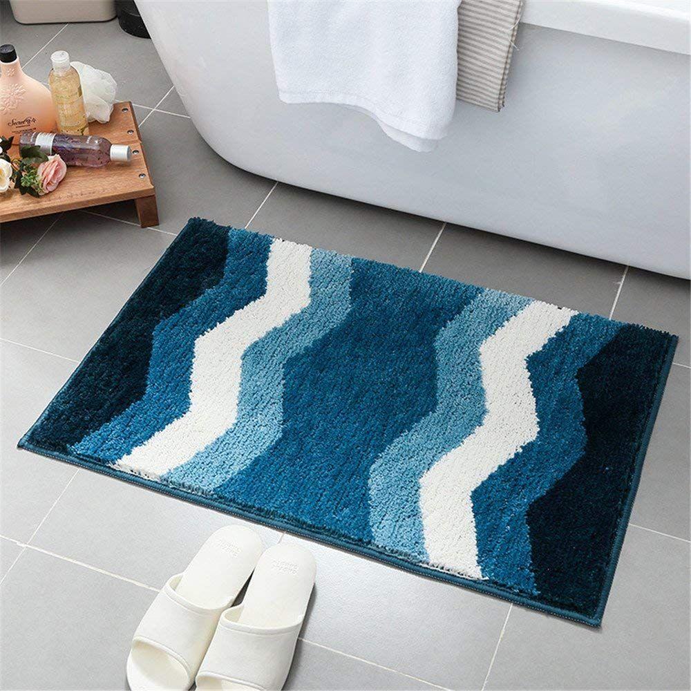 Amazon Com Hepix Non Slip Microfiber Shag Bathroom Mat Machine Washable Shaggy Bath Mats With Water Geometric Pattern Rug Simple Geometric Pattern Rug Pattern