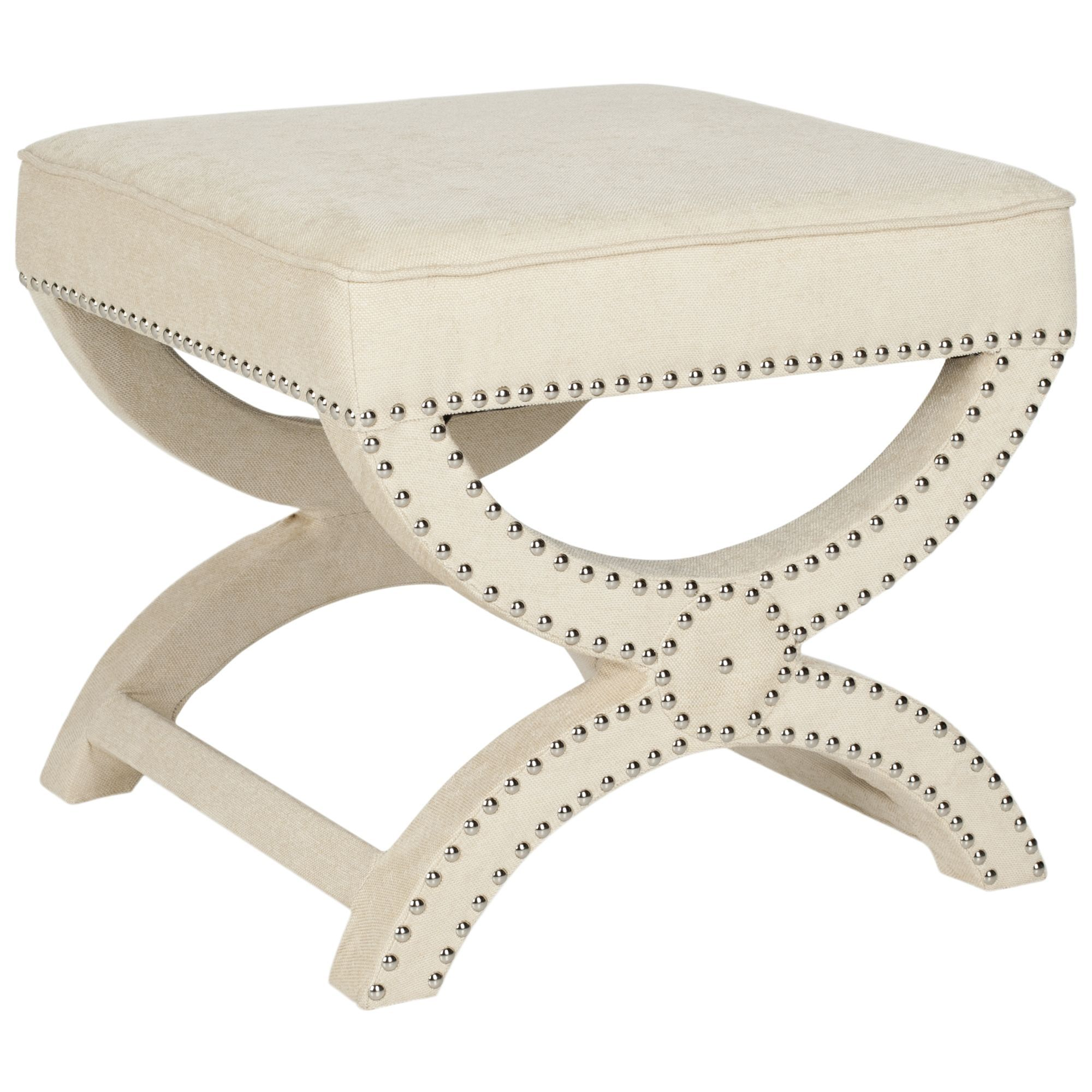 Safavieh dante x bench cream ottoman mcr4645a beige off white size small fabric