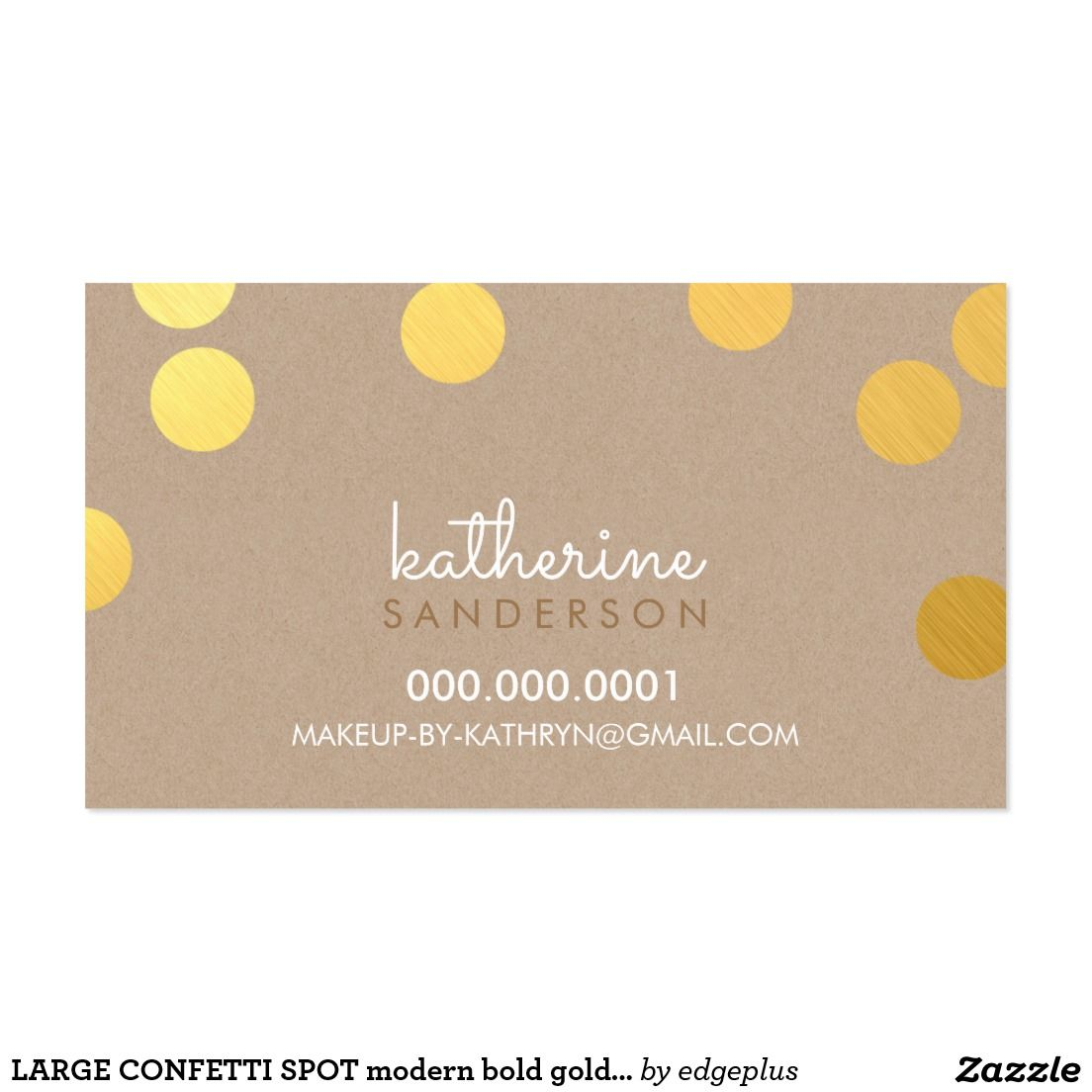 LARGE CONFETTI SPOT modern bold faux gold foil kraft Business Card ...