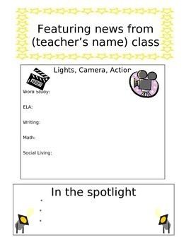 You can use this newsletter to keep your parents informed of what's going on in your class for the week. This Hollywood themed newsletter includes places for you to insert what you are studying for the week and any important notes.
