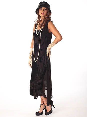1920s Style Black Crepe Velvet Party Dress