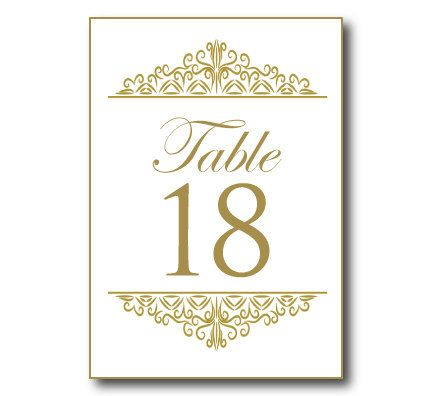 Gold Wedding Table Number Template Instant Editable Text Damask Microsoft Word Format