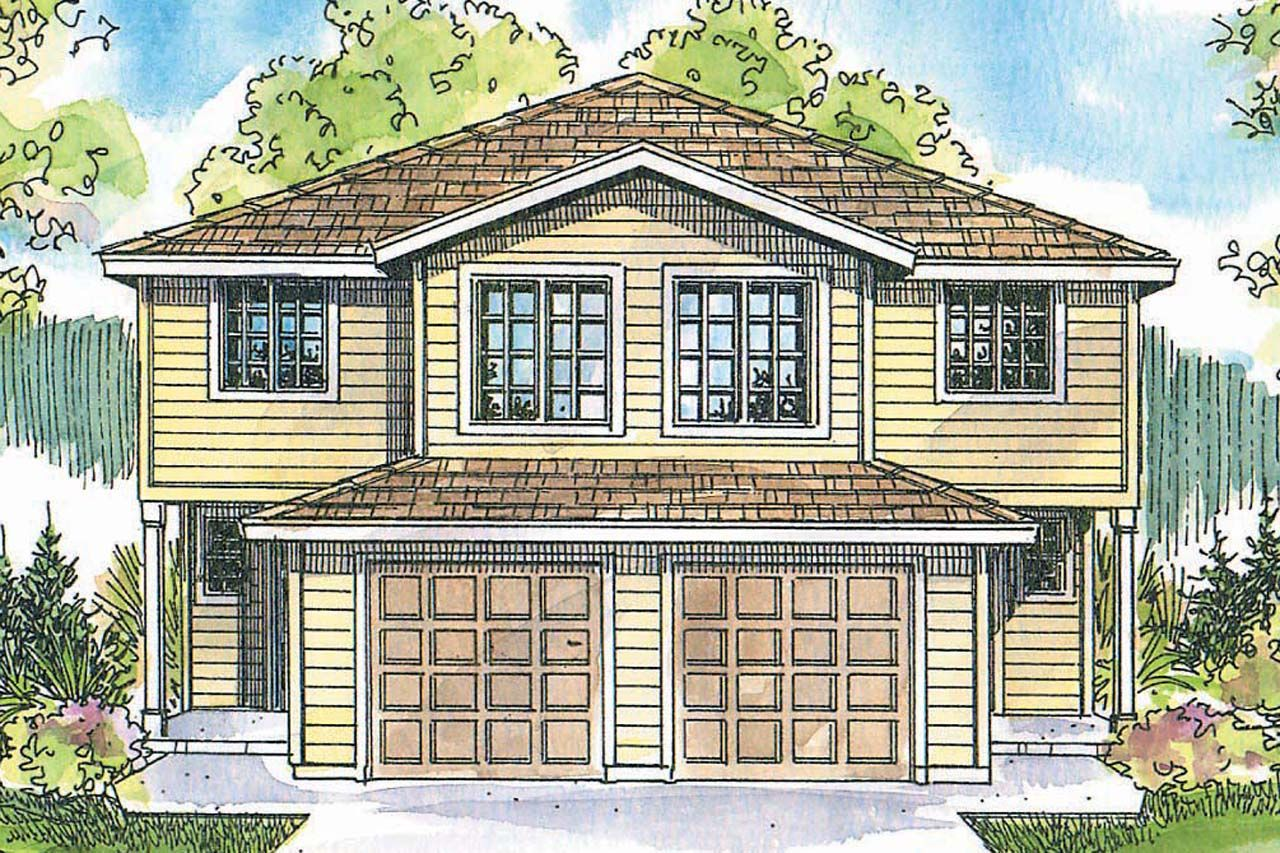 Each Unit In This Exceptionally Spacious Two Story Craftsman Duplex Plan Has Four Bedrooms And Three Bath Duplex Plans Craftsman House Plans Duplex Floor Plans
