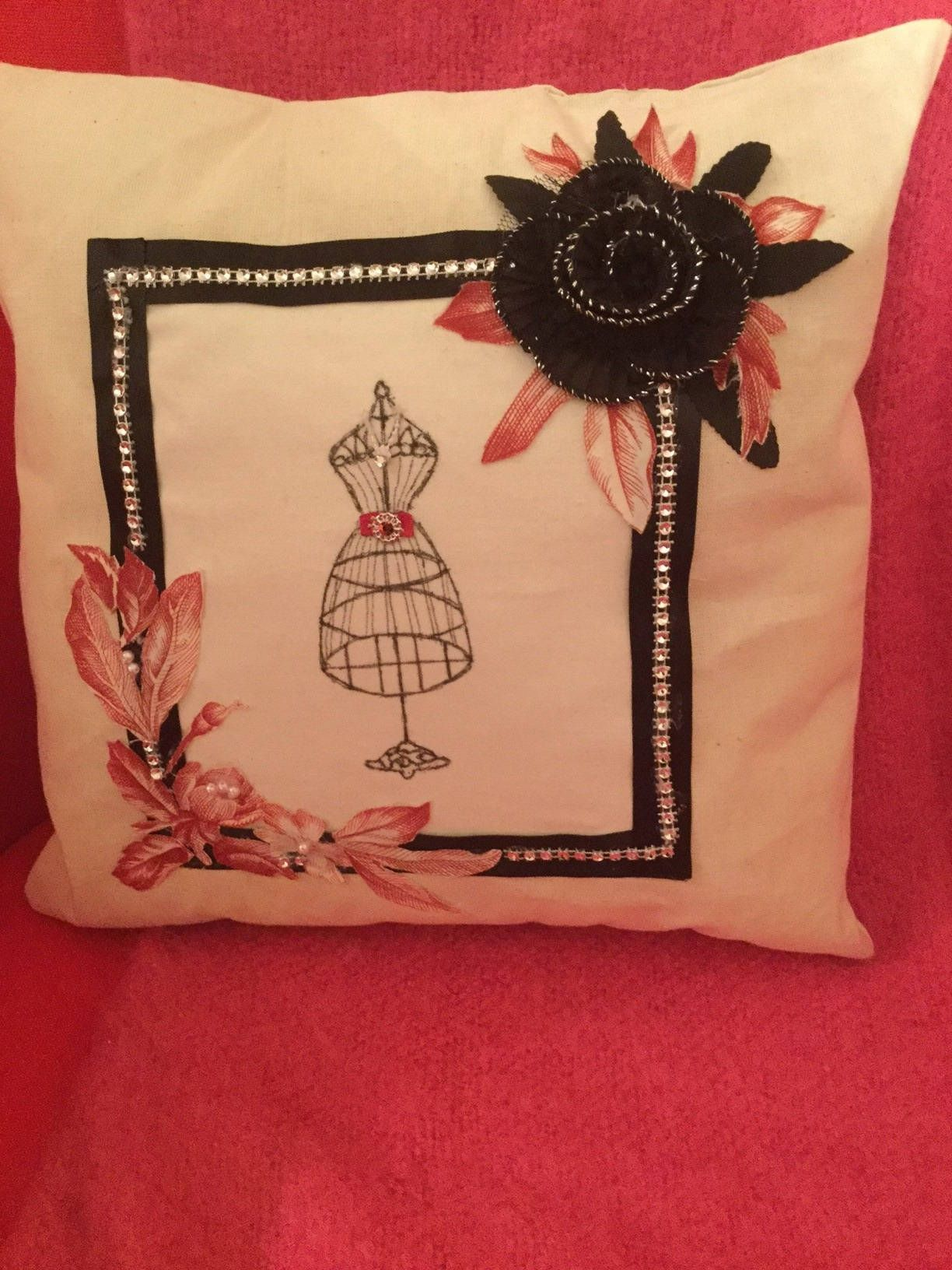 Handmade hand painted mannequin design cushion finished with