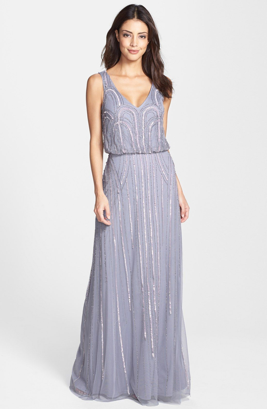 Adrianna Papell Beaded Mesh Blouson Gown Was: $318.00 Now: $190.80 ...