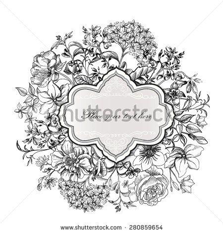 stock-vector-flower-frame-vintage-floral-border-old-style-card-flourish-victorian-invitation-280859654.jpg (450×470)