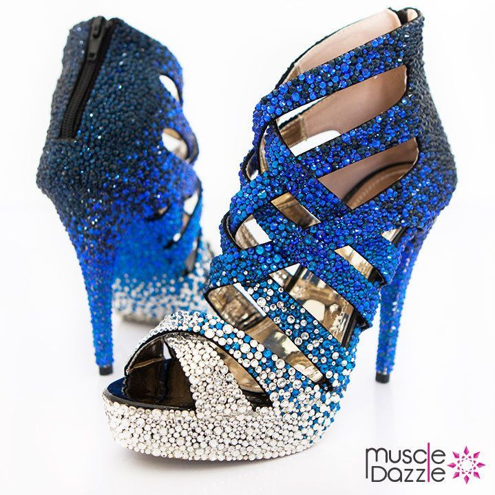 58b756344bde0 High heel platform sandals with overlapping criss-cross straps and close  back with zip. Crystalled with silver, light blue and dark blue rhinestones.