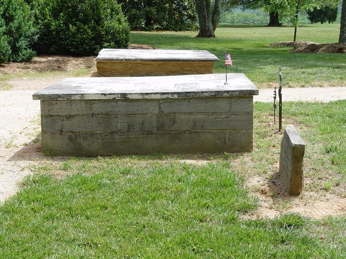 Grave Marker- Patrick Henry, American revolutionary 1/2. Henry died of stomach cancer, while at Red Hill, his plantation. He is buried at the Henry Cemetery, Charlotte County, Virginia, US.