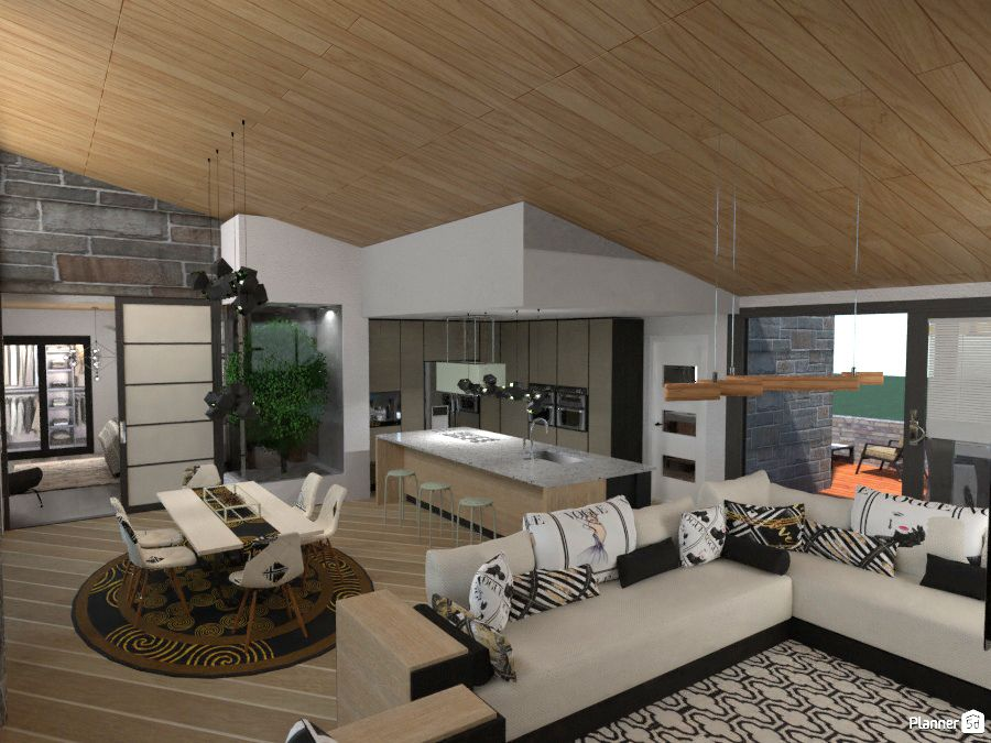 Living Room Interior Design Kitchen And Dining Room Interior With