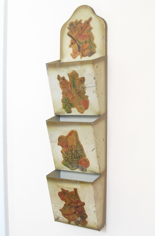 Vintage Metal 3 Pocket Letter Holder, Wall Pocket Mail Holder ...
