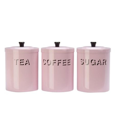 Shabbychicpink Shabby Chic Pink Tea Coffee Sugar Canisters