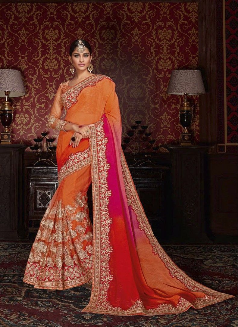 Peach color saree for wedding net patch border orange designer wedding saree  sarees  pinterest