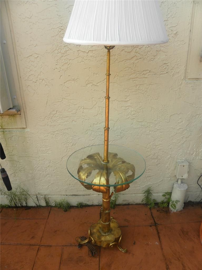 Hollywood Regency Faux Bamboo Baker Johnson Era Glass Brass Side Tray Table 111 11 Faux Bamboo Floor Table Lamps Bamboo