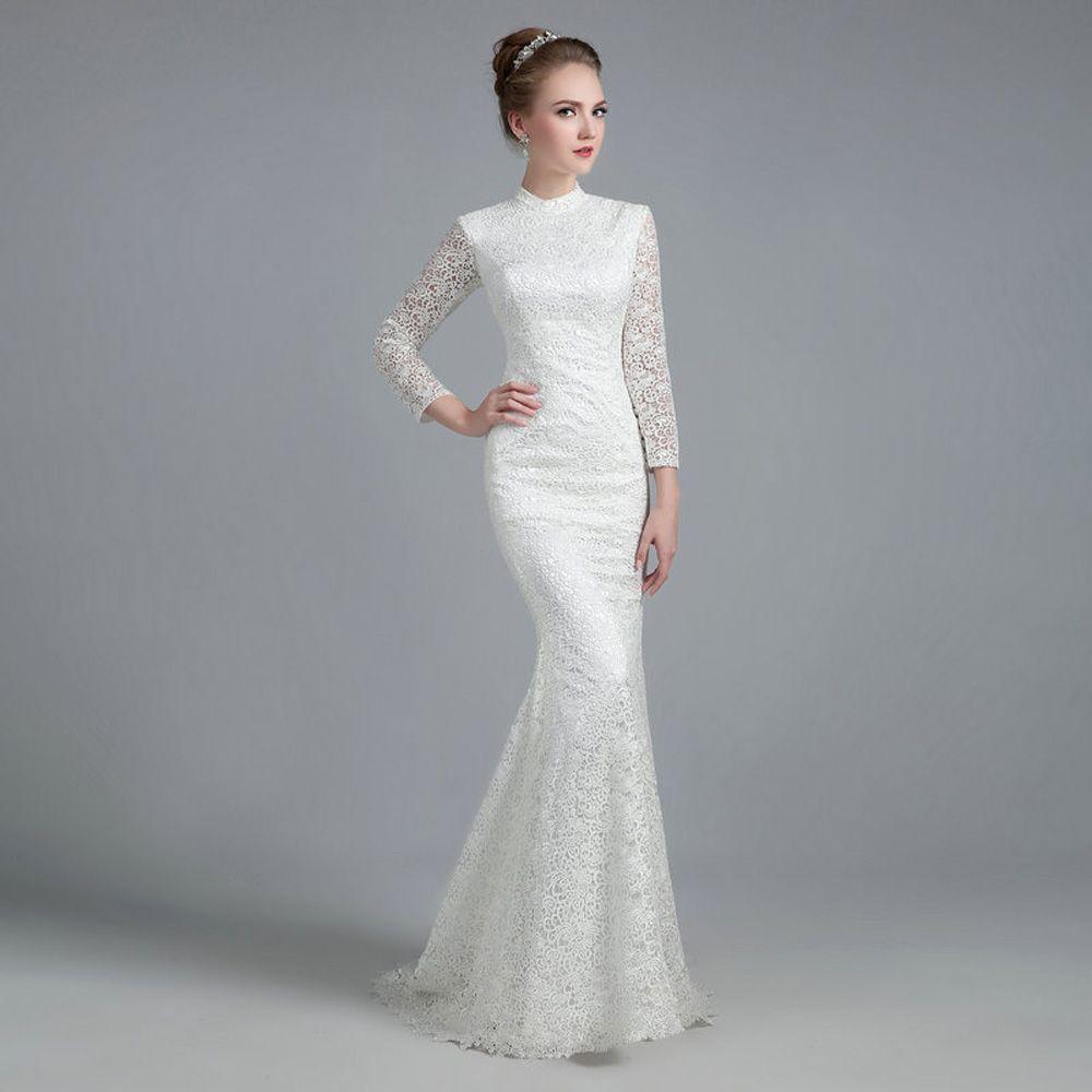 White Vintage Lace High Neck Long Sleeves Mermaid Wedding Dress Uniqistic Com Long Sleeve Mermaid Wedding Dress Long Sleeve Wedding Dress Lace Wedding Dresses [ 1000 x 1000 Pixel ]