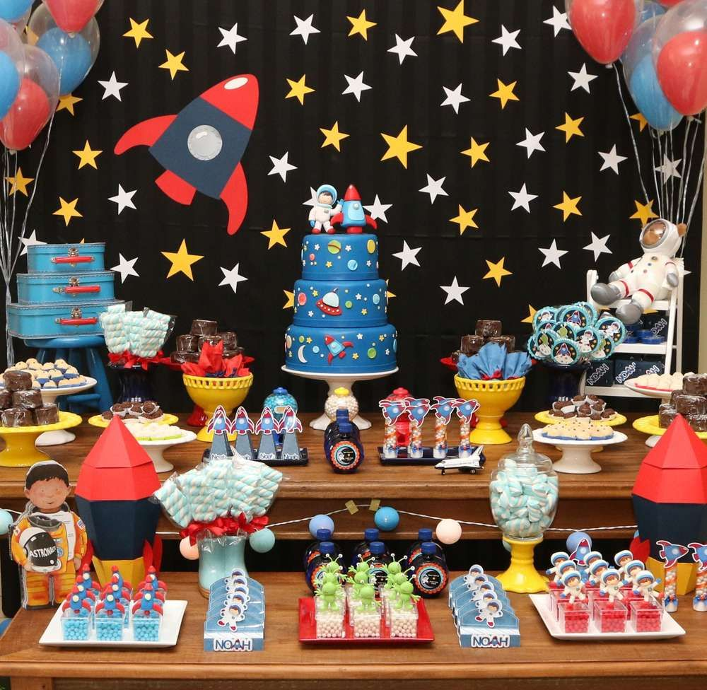 Children/'s Birthday Party Decoration Celebration Party Motto Space Space Rocket