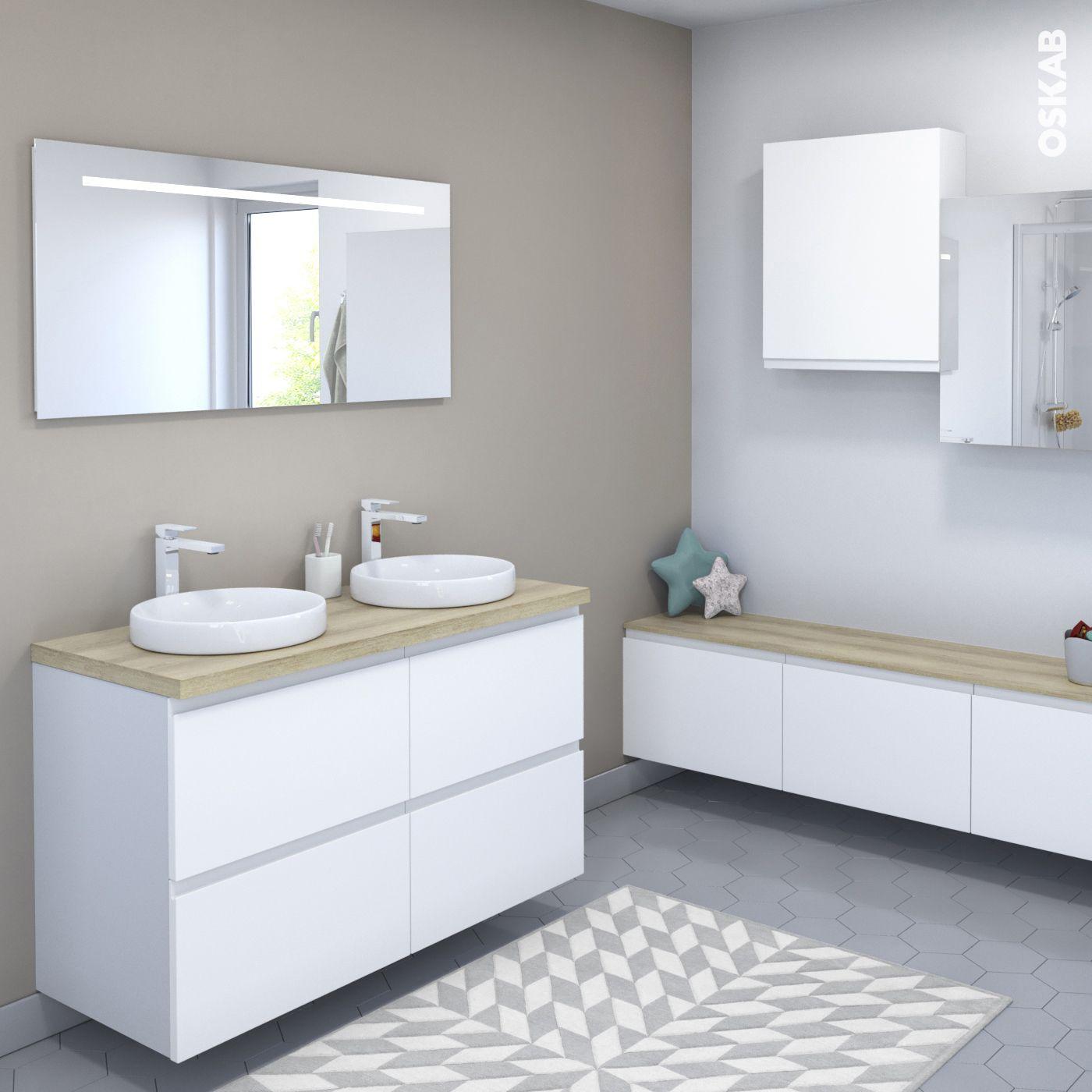 Ensemble Salle De Bains   Meuble IPOMA Blanc Mat   Plan De Toilette Hosta    Double Vasque   Miroir Lumineux   L120 X H70 X P50 Cm