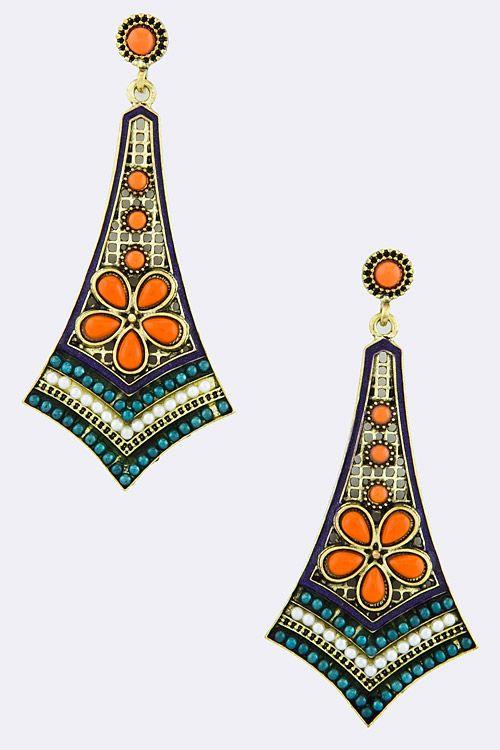 Poppy Folk Art Statement Earrings | Emma Stine Jewelry Set