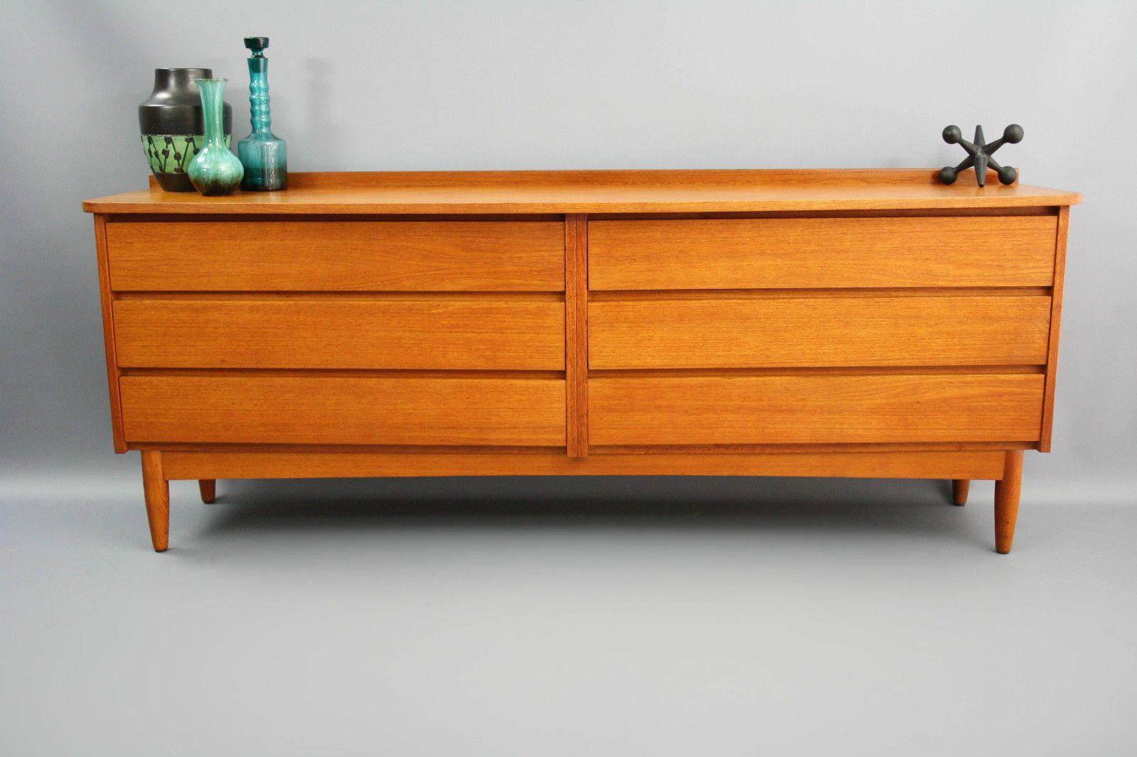 Best Mid Century Lowline Long Moderntone Teak Sideboard Drawers 640 x 480