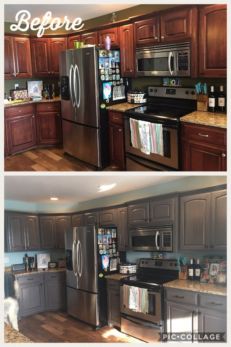 Let S Lighten It Up General Finishes 2018 Design Challenge Dark Stained Cabinets Staining Cabinets Dark Kitchen