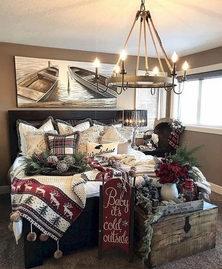 47 Cute Farmhouse Christmas Decor Ideas Megasiana Com Christmas Decorations Bedroom Diy Christmas Decorations Easy Christmas Bedroom