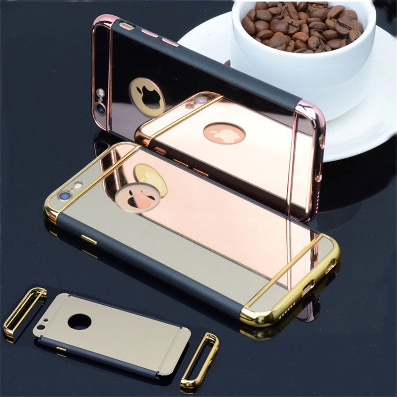 Fashion Hybrid 3 in 1 Plating Mirror PC Back Case for iPhone 6 6S  6SPlus Cover Soft PU Leather Frame Phone Case Fundas