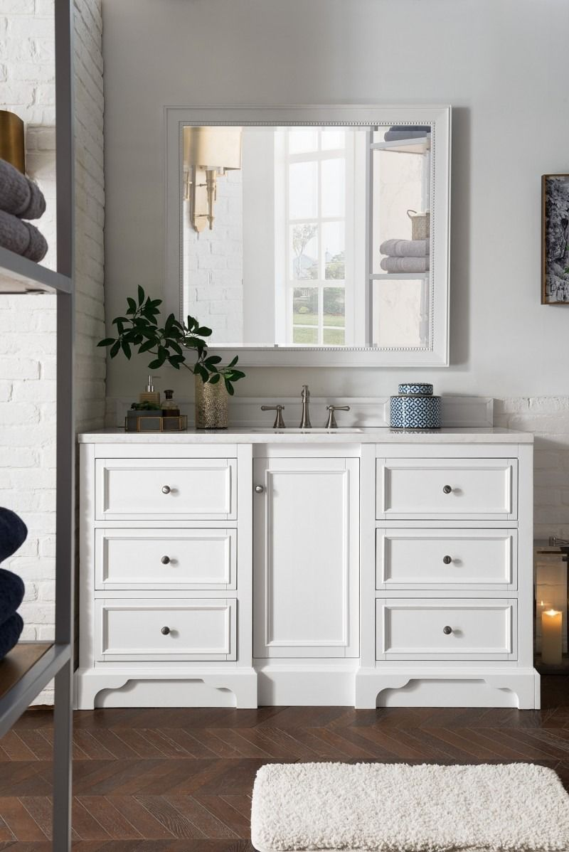 De Soto 60 Single Sink Bathroom Vanity Cabinet Bright White