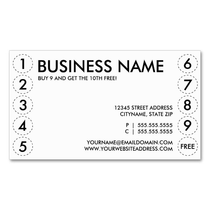 Plain Punch Card Zazzle Com Printing Business Cards Punch Cards Loyalty Card Template
