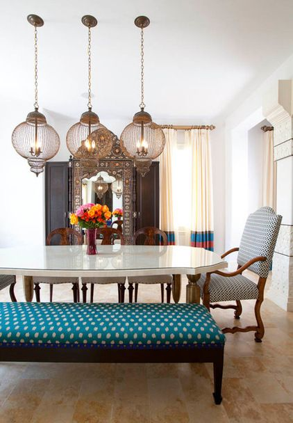Intricate Moroccan Mirror, Cage Lanterns, White Dining Table, Striped  Drapes Dining Table: