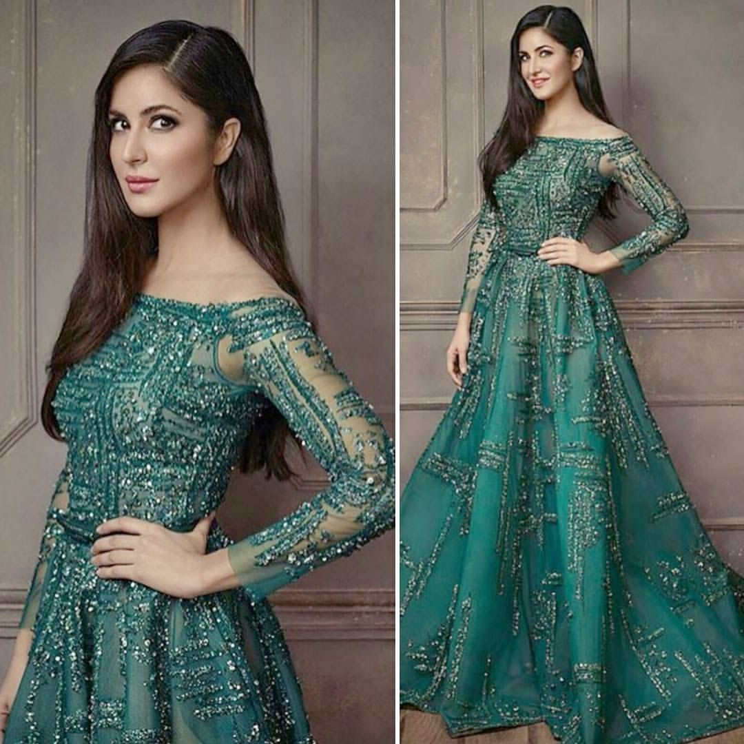 Stunning Katrina Kaif In Green Dress Indianfashion Indian Wedding Gowns Indian Wedding Outfits Wedding Reception Outfit