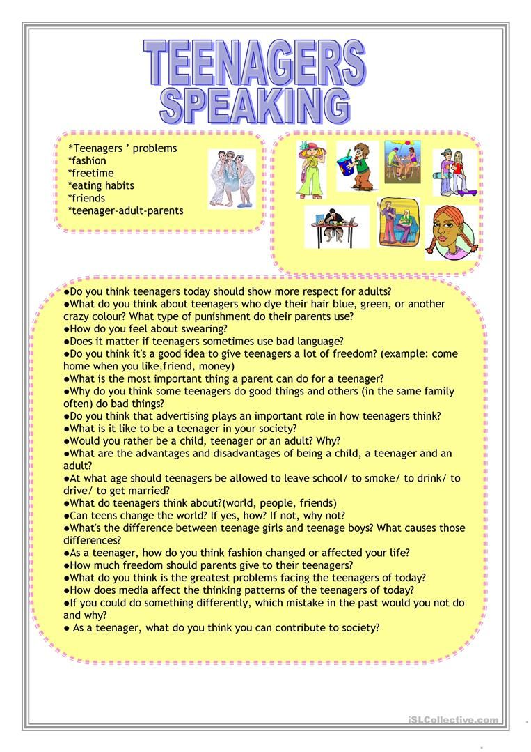 Teenagers Worksheet Free Esl Printable Worksheets Made By Teachers Reading Comprehension Lessons Speaking Activities Esl Esl Teens [ 1079 x 763 Pixel ]