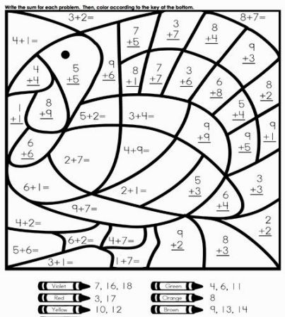 Third Grade Coloring Pages Thanksgiving Math Worksheets